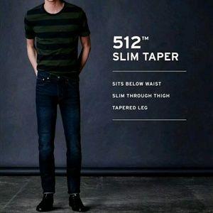 Levi's Slim Taper Fit Dark Wash Blue Denim Jeans